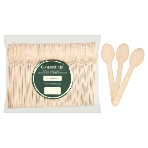 100 x Spoons Wooden Beechwood 15.5cm - Disposable Cutlery